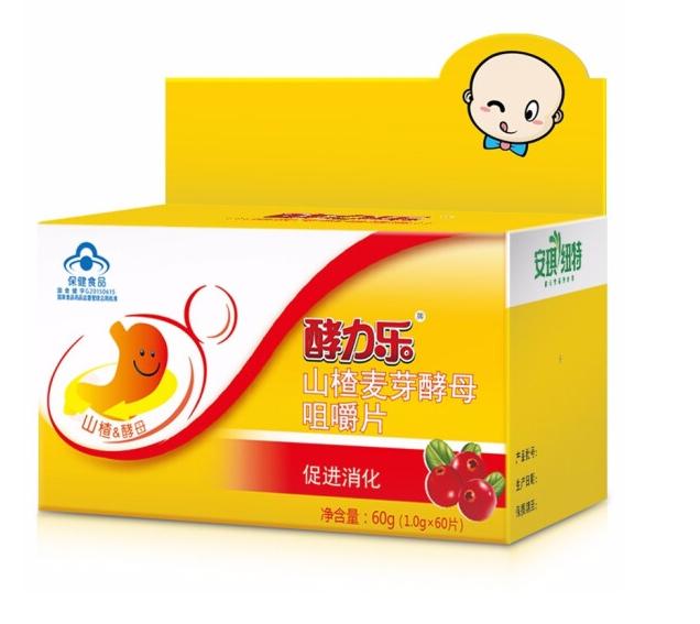 安琪纽特 酵力乐山楂麦芽酵母咀嚼片 促进消化60片装